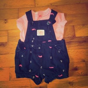 Baby girl shirt and overalls outfit